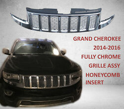 Jeep Grand Cherokee Front Upper Grille 2014-2016 Fully Chrome Honeycomb Mesh
