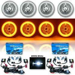 5-3/4 Amber Smd Led Halo Crystal Clear H4 Headlight And 6k Hid Bulb Set Of 4