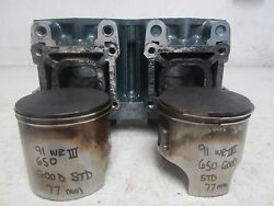 W30 Yamaha Wave Runner 3 650 1991 Cylinders Good W Pistons 6m6-11311-00-94 A