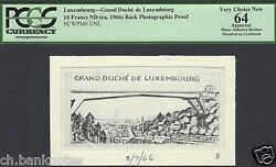 Luxembourg 10 Francs Nd 1966 Pick Unlisted Photographic Proof Uncirculated
