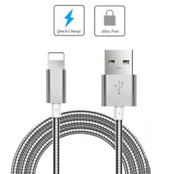 For Iphone Ipad Ipod - Metal Usb Cable 6ft Charger Cord Power Wire Long Sync