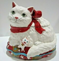 Blue Sky Clayworks Heather Goldminc White Cat Red Bow Pillow Ceramic Cookie Jar