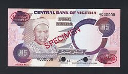 Nigeria 5 Naira Nd 1984 P24as Specimen Tdl Uncirculated