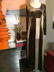 The People Of The Labyrinths Brown Velour Maxi Long Sleeve Dress 2400-722-12320