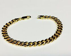 14k Solid Yellow Gold Handmade Curb Link Menand039s Bracelet 7.5 Mm 10 36 Grams