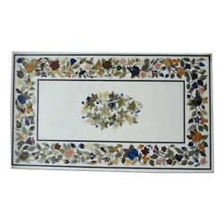 52 X 32 Marble Table Top Semi Precious Stone Inlay Work With Wooden Stand