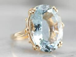 Aquamarine And Gold Cocktail Ring