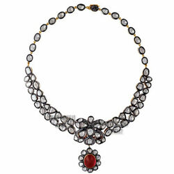 9.85cts Rose Antique Cut Diamond Ruby Studded Silver Victorian Necklace Jewelry