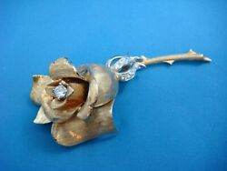 Vintage Erwin Pearl 18k Gold 28.8 Grams And 0.65ct Tw Diamonds Rose Flower Brooch