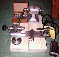Antique Bench Model Jewelerand039s / Watchmakerand039s Hand Operated Lathe