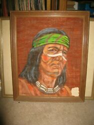 Signed Native American Portrait Apache Brave On Burlap Keeper Of The Fire