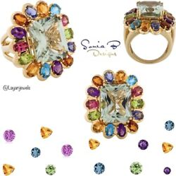 New Sonia Bitton 13.0 Tcw Natural Multi-stone 14k Gold Cocktail Ring