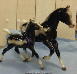 Breyer Collectable Horses Vintage Club Salt And Pepper Glossy Mare And Foal
