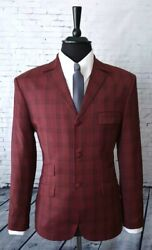 Mod Suit Red And Black Check Suit 3 Button Slim Fitting Suit 1960's