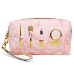 ScarvesMe Women#x27;s Marble Pattern MakeUp Clear Beach Pouch Cosmetic Clutch Bag $12.99