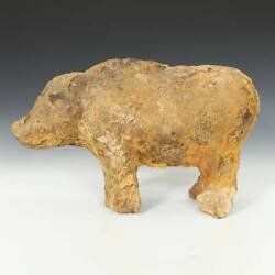 Antique Chinese Han Style Standing Figure Of A Pig Cast Iron Zodiac China 18th C