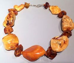 Rare Ancient Huge Butterscotch Amber Necklace And Earrings Set - 150 Grams