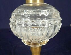 Antique 19th Century Victorian Pressed Glass Oil Lamp On A Brass And Marble Base