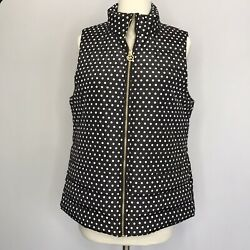 Womenandrsquos Puffer Vest Black Polka Dot Polyester Size S M L