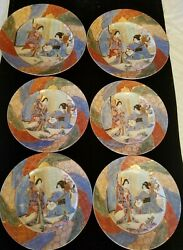 6 Japanese Hand Painted Plates With Gold Accents