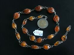 Superb Necklace Solid Silver And Stones In Amber Crimps - Ref52411