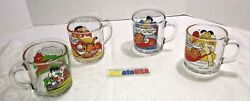 Garfield The Cat Mcdonalds / Clear Glass Mug Coffee Cup Lot Of 4 Vintage 1987