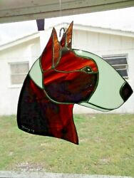 STAINED GLASS DOG BULL TERRIER BRINDLE WHITE