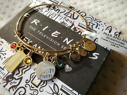 Nwt Alex And Ani Friends Couch And Pivot Cluster Charm Bangle, Shiny Gold Finish