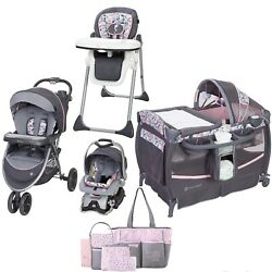 Baby Trend Combo Travel System Stroller With Car Seat Chair Nursery Crib Bag Set