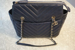CHANEL. CHEVRON DESIGN CALFSKIN BLUE BAG. NO OTHERS ON EBAY!! FREE SHIPPING!! $3,000.11