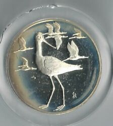 1971 Avocets Sterling Silver Proof Gilroy Roberts Medal