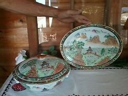 Antique Chinese Hand Painted Tureen Bowl And Lid And Serving Plate