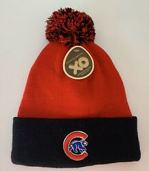Chicago Cubs Black/red Fleece Lined Winter Hat - New- One Size Fire's All