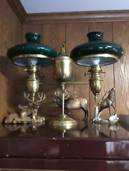 Antique Double Student Lamp M. B. Co. New York Electrified Green Shades