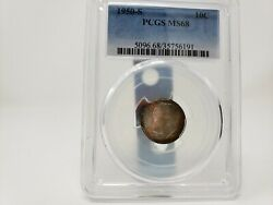 1950 S Roosevelt Silver Dime Graded Pcgs Ms68 Top Graded Roosevelt