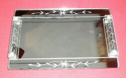 Antique Vanity Perfume Tray Footed / Cut Glass / Mirrored 9 X 14 / 1950's