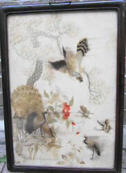 Early Ching, Rosewood,floral,landscape/ Embroidered /,25 Ins X18 Ins/hawk/crane
