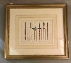 Framed Antique German Hand Colored Book Plate Print - Knight's Pole Weapons Mace