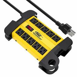 Crst Power Strip 10-outlets Heavy Duty 15ft Cord Metal Surge Protector 15 Amps