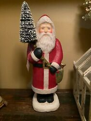 Bethany Lowe Paper Mache Santa Claus With Bells And Bottle Brush Tree Large New