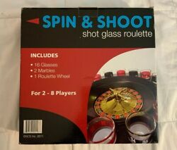 Spin And Shoot Shot Glass Roulette - Drinking Game Set 2 Balls And 16 Glasses