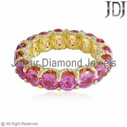 Pink Sapphire Ring Yellow Gold 14k Jewelry Solid White Diamonds Engagement Bands