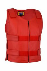 Red Leather Women Bulletproof Style Motorcycle Vest $59.00