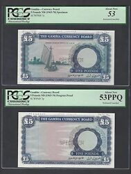 Gambia 2 Notes 5 Pound Nd1965-70 Proof And Specimen About Uncirculated