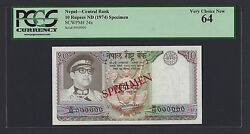 Nepal 10 Rupees Nd 1974 P24s Specimen Uncirculated