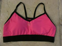 CHROME ACTIVE Pink And Black Padded Sports Bra Racerback Mesh Size S  NWOT