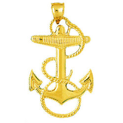 New Real Solid 14k Gold Sailor Rope With Mariner Anchor Charm Pendant