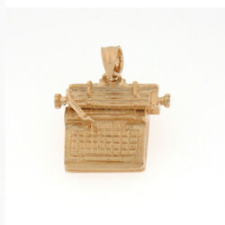New Real Solid 14k Gold Typewriter Charm