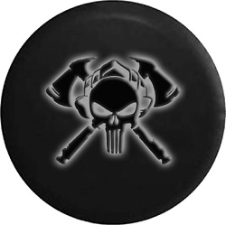 Spare Tire Cover Skull Fire Dept Glowing Off Road Jk Accessories