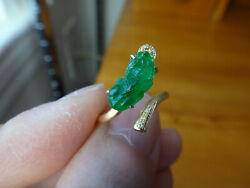 18k Solid Yellow Gold Diamond Natural A Jadeite Jade Icy Sun Green Pixiu Ring